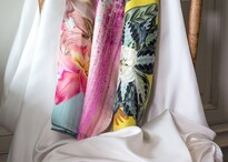 Aria Creative plain white and printed silk